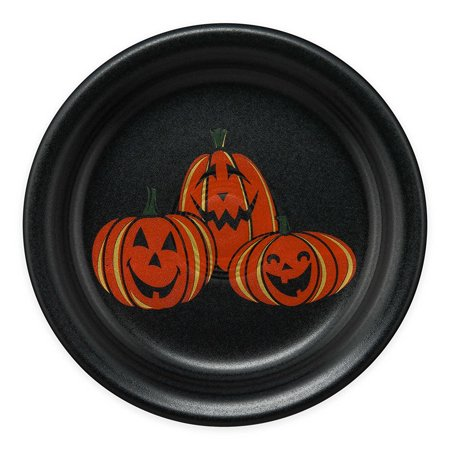 Halloween Trio of Happy Pumpkins Appetizer Plate in Black, Perfect addition to your Halloween décor By Fiesta