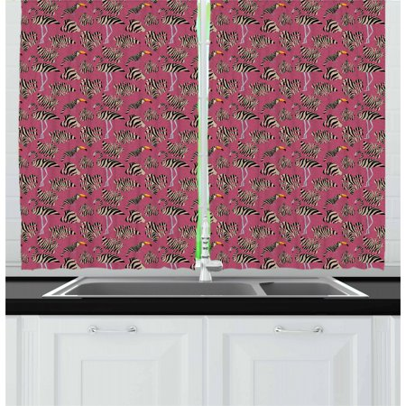 Pink Zebra Curtains 2 Panels Set, Flamingos Toucans Large Tropical Leaves in Zebra Stripes Trippy Illustration, Window Drapes for Living Room Bedroom, 55W X 39L Inches, Pink Tan Black, by Ambesonne Large Tropical Leaf