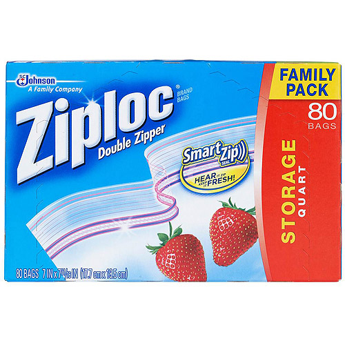 Ziploc Storage Bags Family Pack Quart Size, 80 count