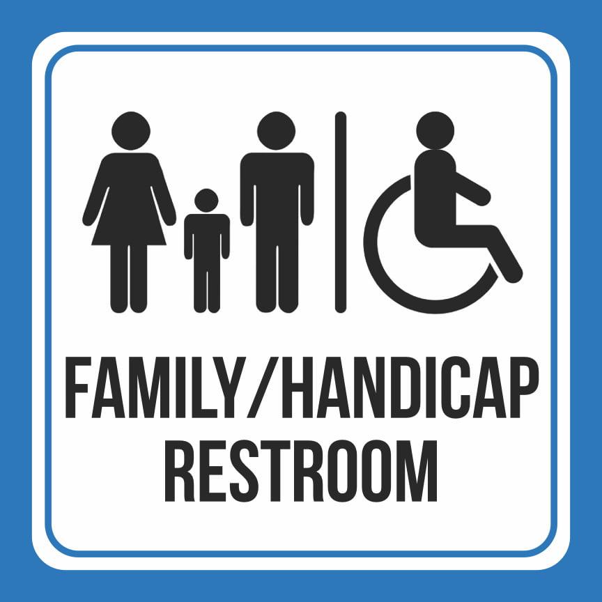 Aluminum Family Handicap Wheelchair Bathroom Restroom Public Notice Square Sign, 12x12