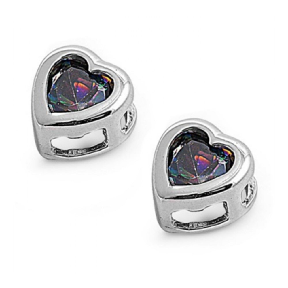 925 Sterling Silver Heart Shaped Earrings With Cubic Zirconia