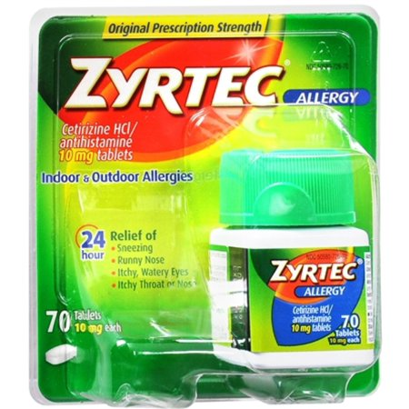 Zyrtec Allergy 10 mg Tablets 70 Tablets (Pack of