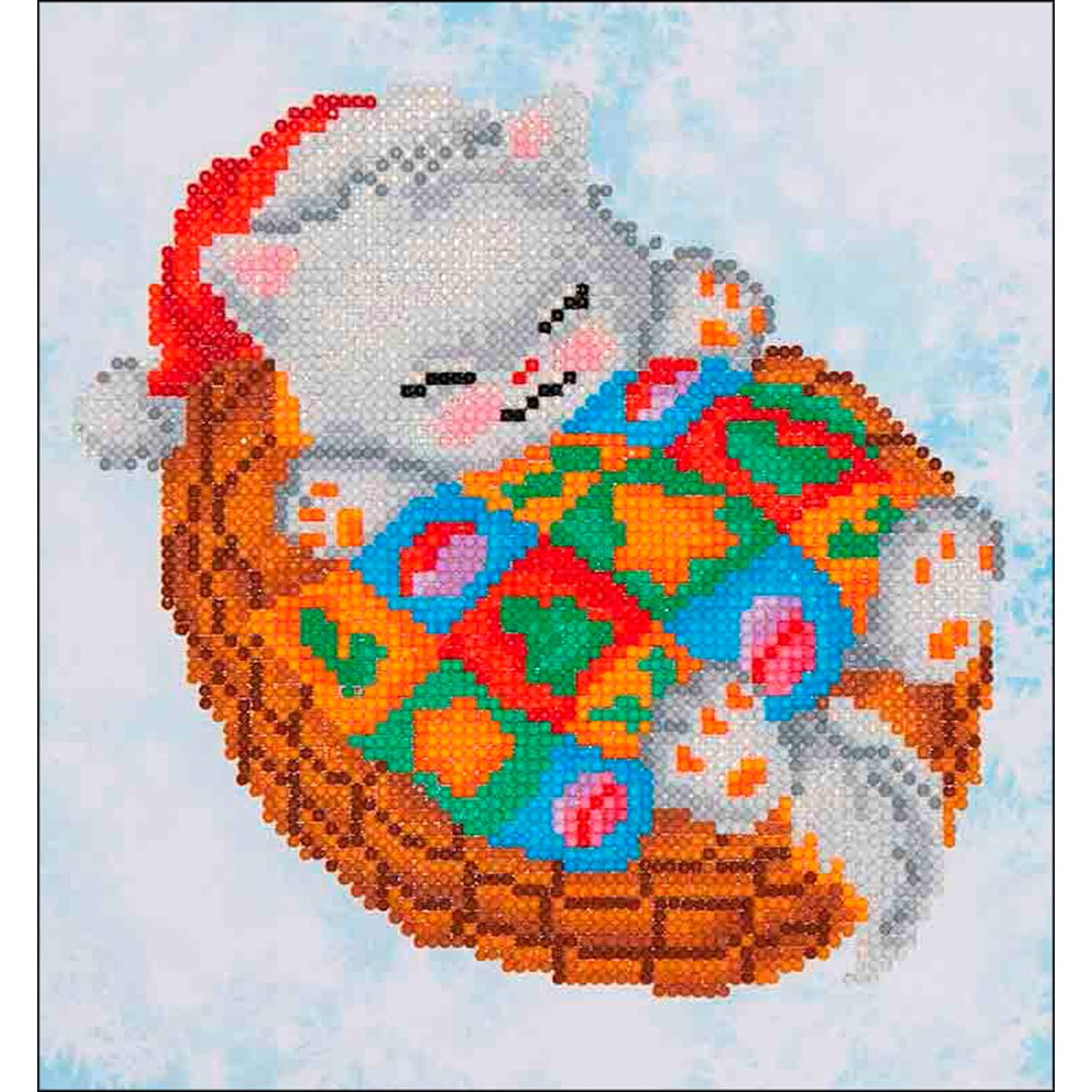 "Diamond Dotz Diamond Embroidery Facet Art Kit 11""X11.75""-Snug Christmas Kitty"
