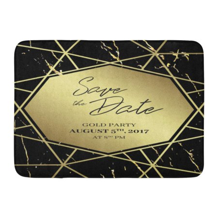 GODPOK White Golden Save The Date Design Formal to Follow Black and Gold Marble and Geometric Dimond Shape Rug Doormat Bath Mat 23.6x15.7 inch