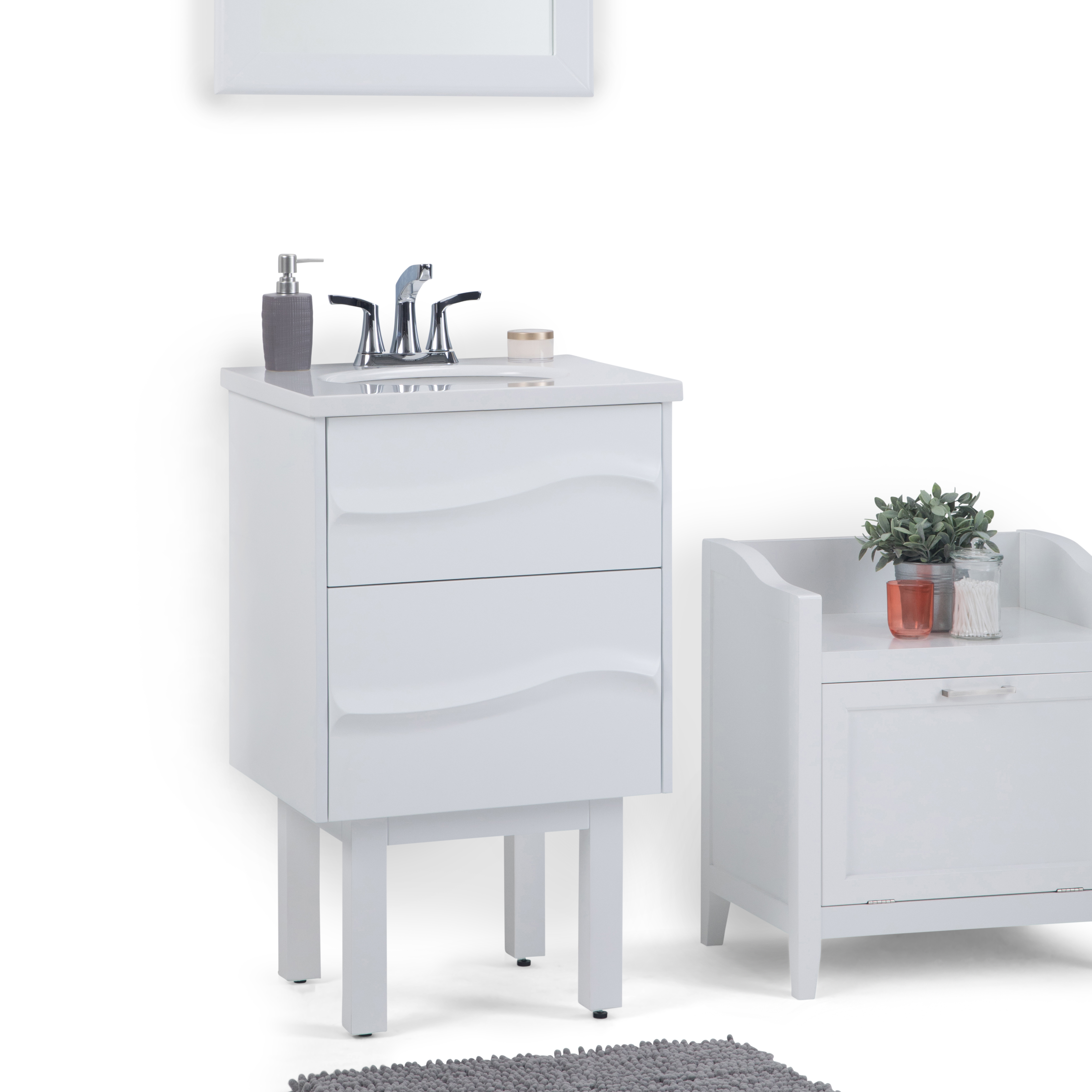 Simpli Home Marlowe 20 Inch Bath Vanity With White Engineered Marble