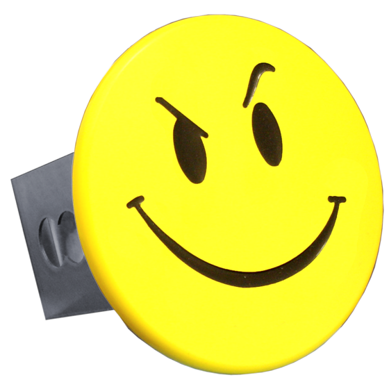 Au Tomotive Gold Smiley Face With Smirk Yellow Trailer Hitch Plug