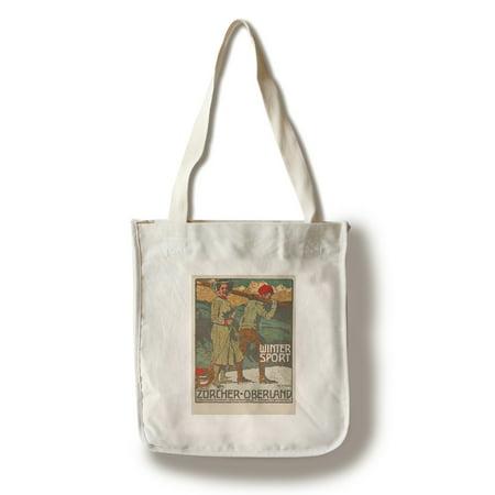 Winter Sport - Zurcher - Oberland Vintage Poster (artist: Marxer) Switzerland c. 1920 (100% Cotton Tote Bag - Reusable)](Zurchers Hours)