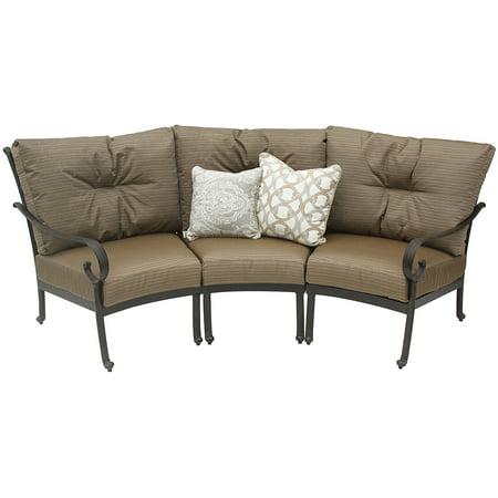 Tortuga Aluminum Outdoor Patio Curve Sofa With Cushion