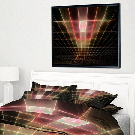 DESIGN ART Designart 'Pink on Black Laser Protective Grids' Abstract Framed Canvas Art -