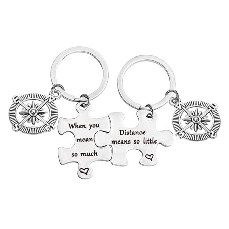 Distance Means So Little When You Mean So Much Keychain Set Long Distance Gift Couples Best Friends