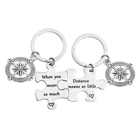 Distance Means So Little When You Mean So Much Keychain Set Long Distance Gift Couples Best
