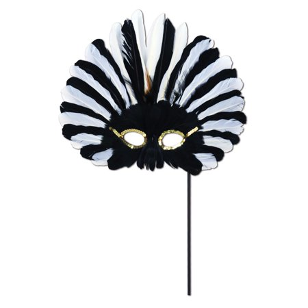 Club Pack of 12 Festive Black and White Feathered Mardi Gras Masquerade Masks