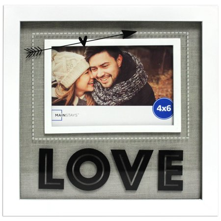 Mainstays 4x6 Glass Sentiment White Shadowbox Frame Love
