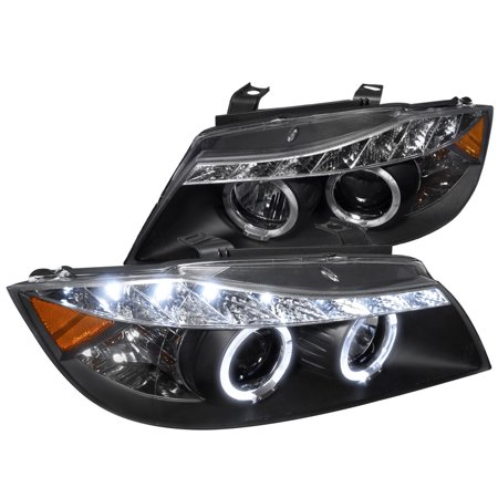 Spec-D Tuning For 2006-2008 Bmw E90 3-Series Led Strip Black Projector Headlights 2006 2007 2008 (Left+Right)