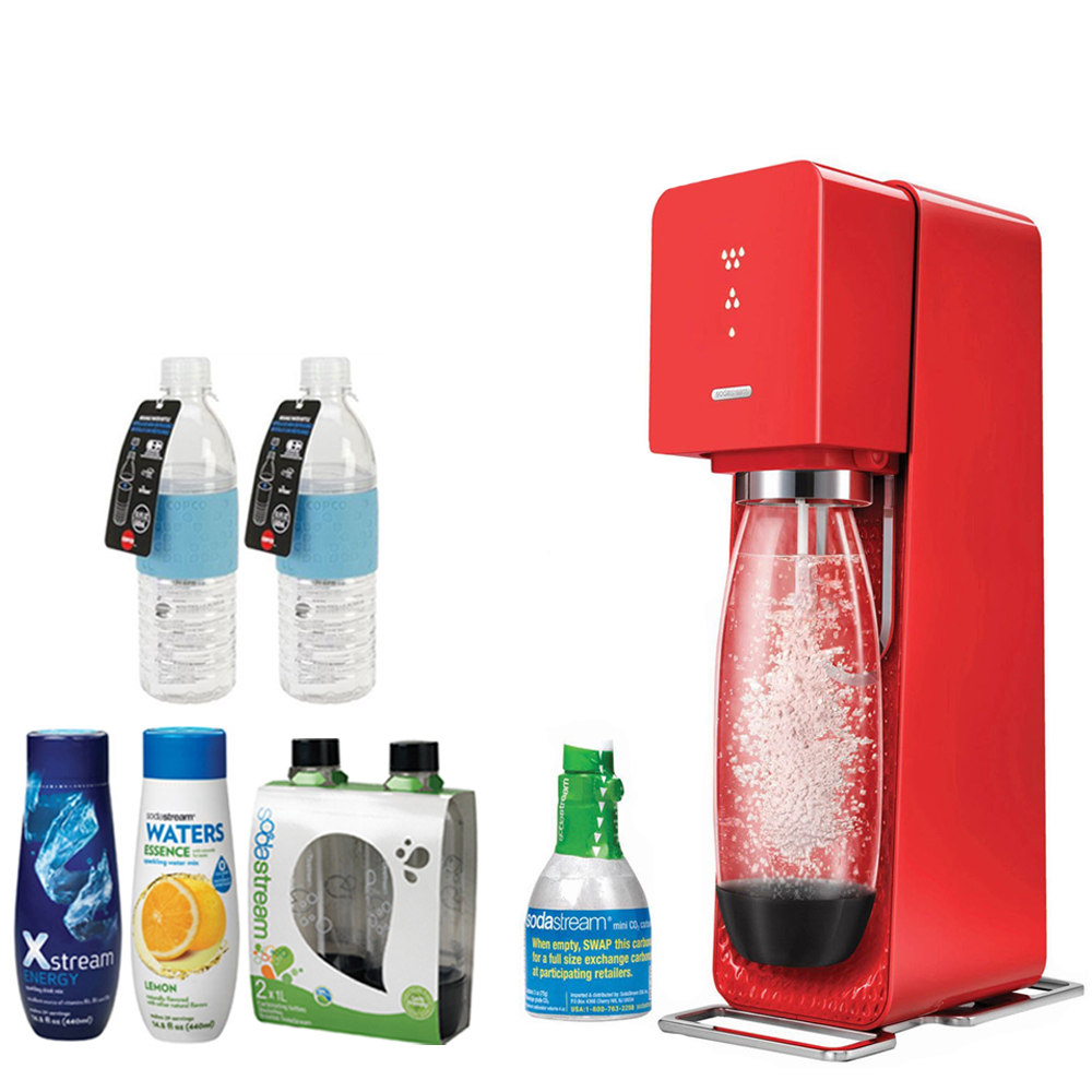 SodaStream Source Home Soda Maker Starter Kit, Red Includes, 1L Carbonating Bottles Black, 2x Hydra Bottle Blue, Xstream Energy Drink & Water Essence w/ Lemon Flvr