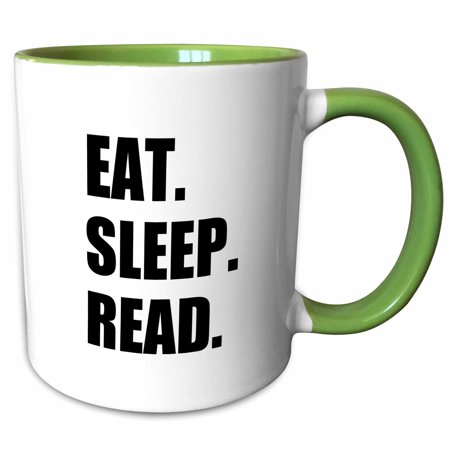 3dRose Eat Sleep Read - fun gift for reading fans bookworms and avid readers - Two Tone Green Mug, 11-ounce