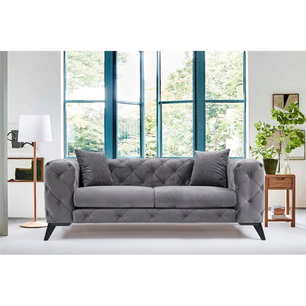 Artem Living Como Chesterfield Fabric Sofa In Gray - Walmart.com - Walmart.com