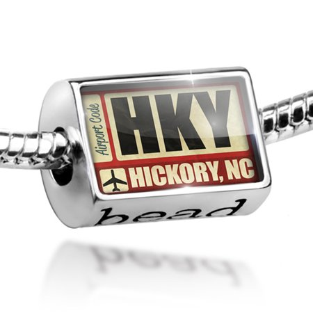 Bead Airportcode HKY Hickory, NC Charm Fits All European Bracelets ()