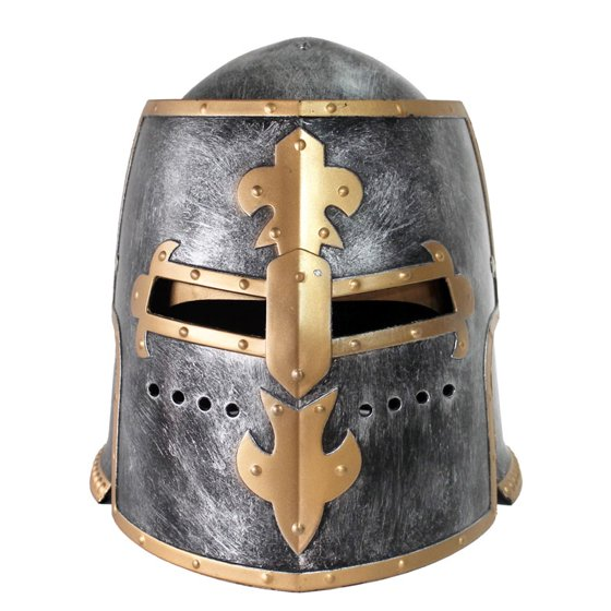 90dff0ac8737a Silver Pewter Knight Roman Armor Crusader Helmet Mask Medieval Adult  Costume - Walmart.com