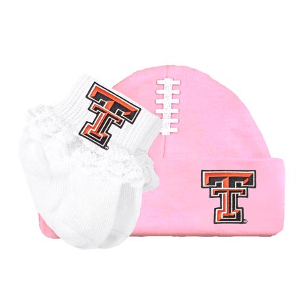Texas Tech Red Raider Football Cap and Socks with Lace Baby Set