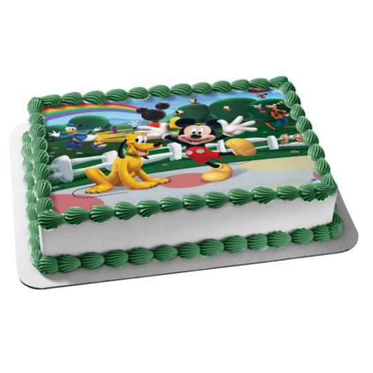 Mickey Mouse Pluto Goofy Donald Duck Edible Cake Topper ... Mickey Mouse Cupcake Toppers Walmart