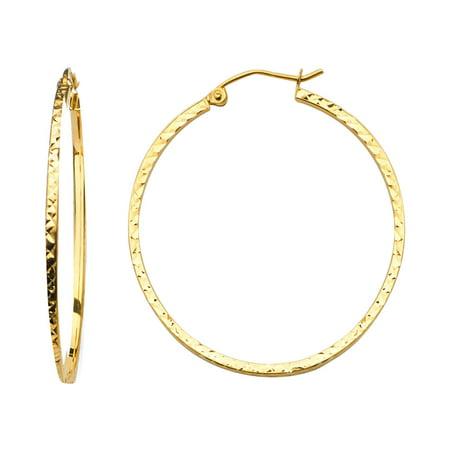 Womens 1.5mm Solid 14K Yellow Gold Square Tube Diamond Cut Hoop Earrings