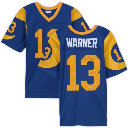 "Kurt Warner St. Louis Rams Autographed Blue Mitchell & Ness Replica Jersey with ""HOF 17"" Inscription - Fanatics Authentic Certified"