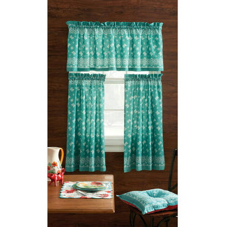 The Pioneer Woman Bandana 3pc Kitchen Curtain And Valance Set, Multiple Colors ()