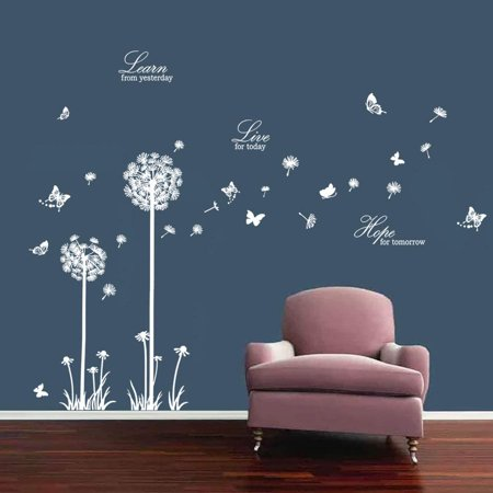 Dandelion Wall Decals Butterflies Learn Live Hope Wall Stickers Quotes Living Room Bedroom Wall Decor White Walmart Canada