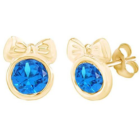Round Shape Simulated Blue Topaz Minnie Mouse Bow Stud Earrings 14K Yellow Gold Over Sterling Silver ()