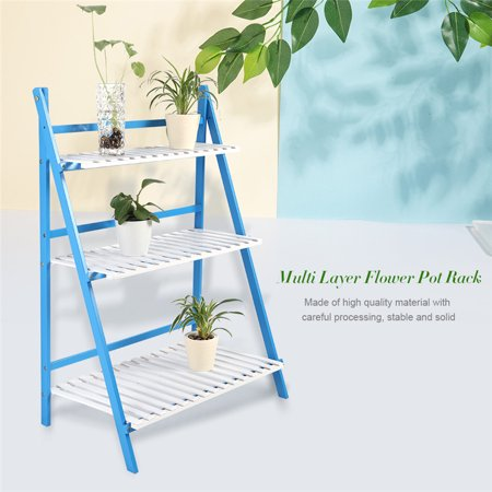 Plant Flower Stand Rack Shelf 3-Tier Bamboo Foldable Pot Racks Planter Organizer Display Shelves with Gloves and Plant Tools, White&Blue Two Tier Flower Planter