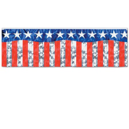 - The Holiday Aisle Patriotic Met Stars and Stripes Fringe Banner
