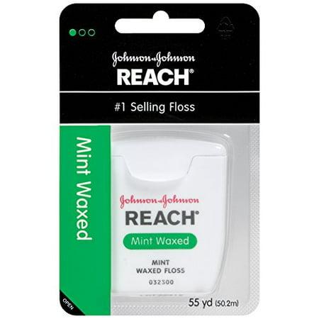 2 Pack Johnson & Johnson REACH Dental Floss Mint Waxed Floss 55 Yards Each