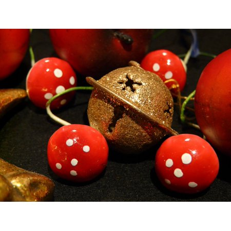 Canvas Print Christmas Christmas Decoration Mushrooms Bell Stretched Canvas 10 x 14](Mushroom Decorations)