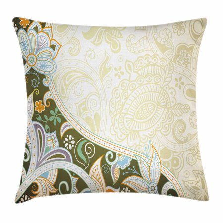 Olive Green Throw Pillow Cushion Cover, Abstract Floral Pattern Leaves and Stripes Asian Inspirations Curvy Oriental, Decorative Square Accent Pillow Case, 16 X 16 Inches, Multicolor, by Ambesonne