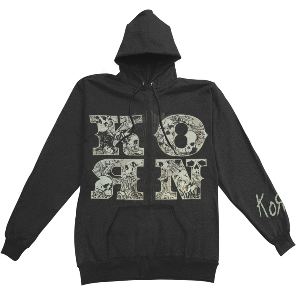 Korn Men's  Skull And Letter Hooded Sweatshirt Black