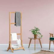 Towel Rack Stand Bamboo Freestanding 3-Bar Hand Towel Drying Rack for Bathroom with Shelf