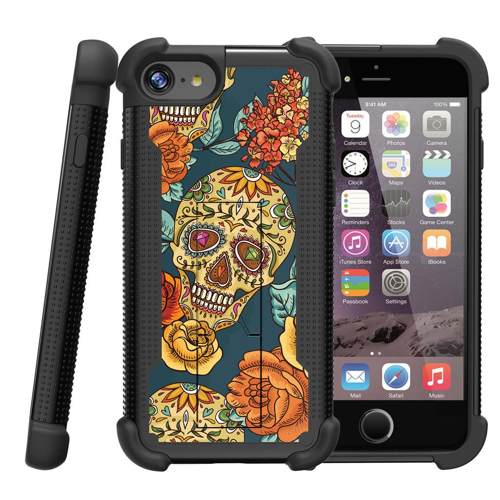 Apple iPhone 7 Case | iPhone 7 Defender Case [ ShockWave Armor] High Impact Dual Layered Case w/ Kickstand - Sugar Skull and Flowers