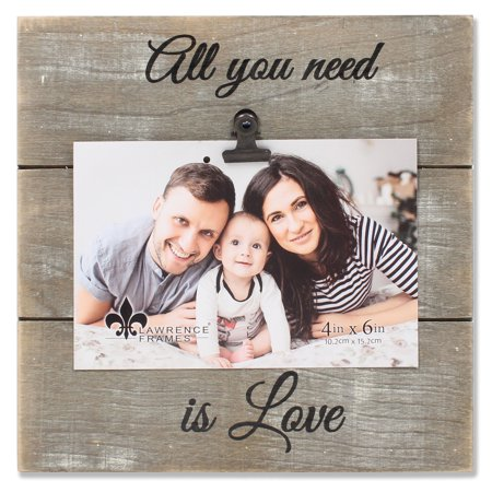 4x6 Weathered Gray Woodlands Clip Picture Frame - Love (Live Photo Frame)