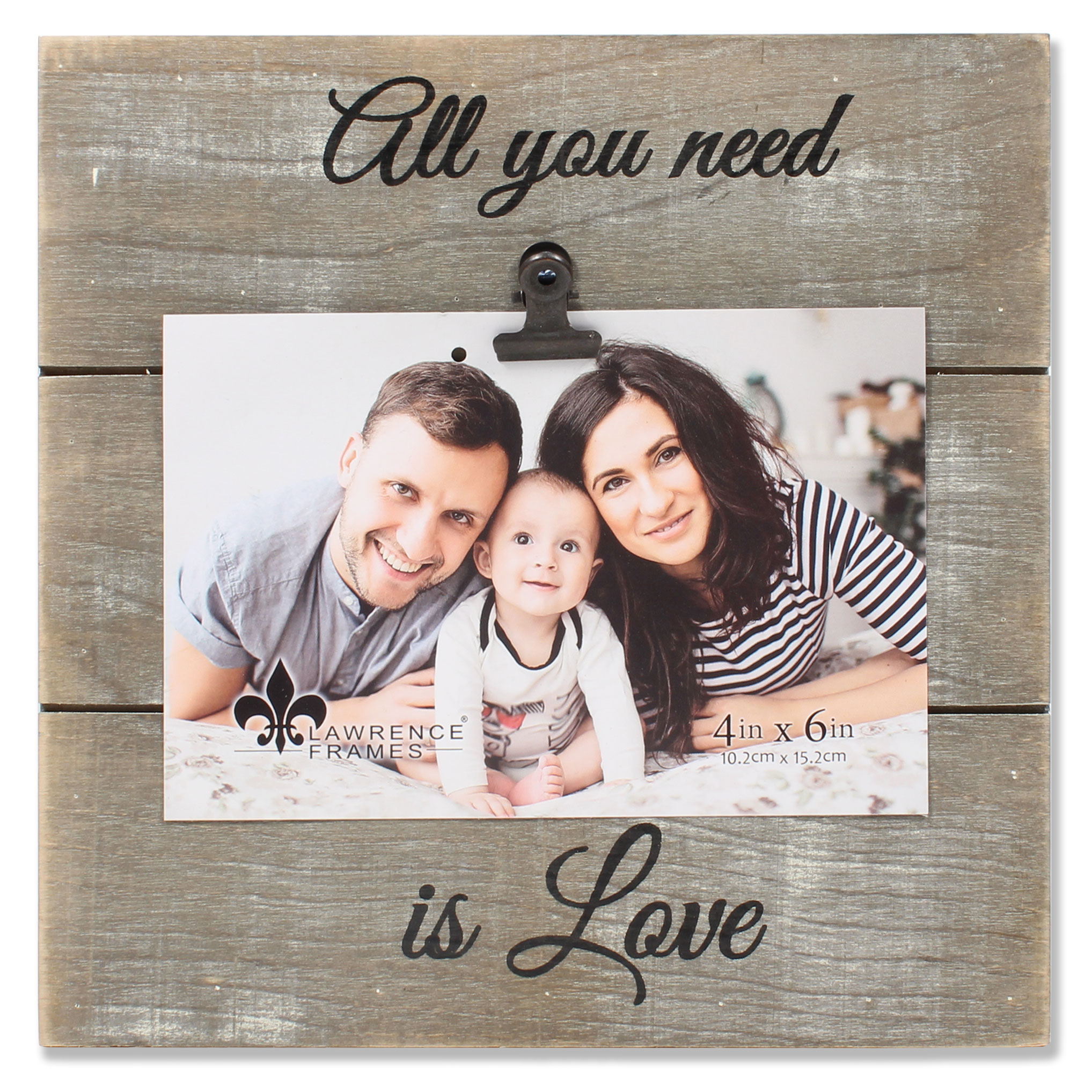 4x6 Weathered Gray Woodlands Clip Picture Frame - Love