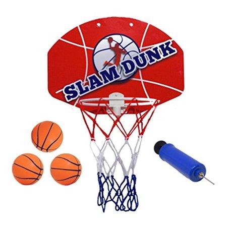 Slam Dunk Mini Basketball Hoop Set - Over The Door Plastic Toy Backboard 14 X 10 w/ Net, 3 Balls & Ball Pump. Simple Assembly, Hanger Mount Game for Kids Children or Adults
