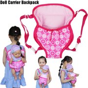 Mosunx Kids Backpack Schoolbag Doll Carrier Bag Flower Design for 18inch American Girl