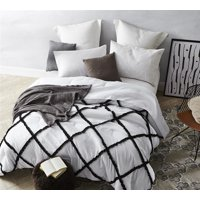 Black on White Gathered Ruffles - Handcrafted Series - Oversized Comforter