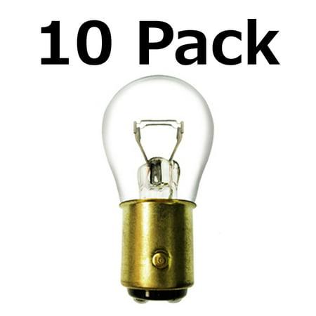 Box of 10 #1157 Lamp Auto Bulb Automotive Lightbulb Brass Dual Filament BAY15d