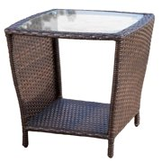 Jackson Outdoor Multi-brown Wicker Side Table with glass top