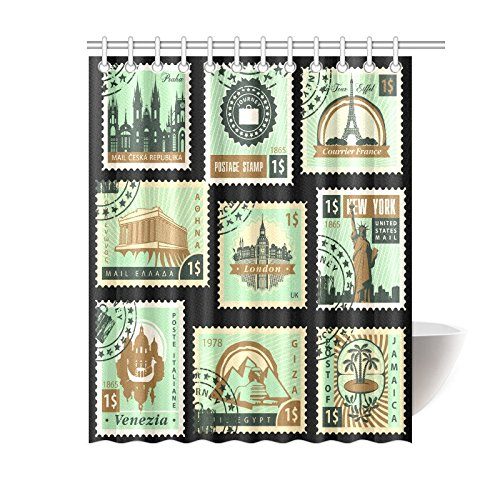 GCKG Old Stamps Collection Postage For Sale Styled Vintage Shower Curtain Hooks 60x72 Inches Black Blue Fabric Prague Paris Greece Lodon New