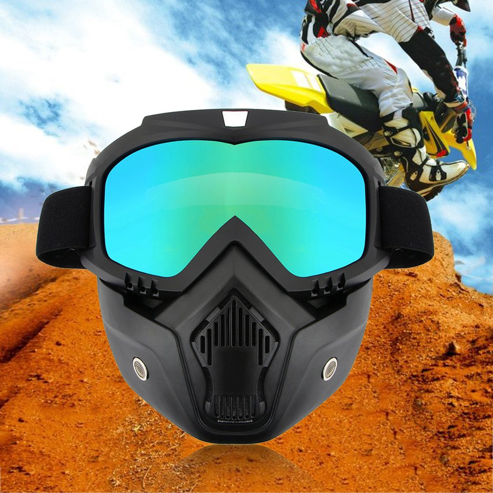 Detachable Motorcycle Helmet Anti-UV Goggles Shield Windproof Riding Face Mask