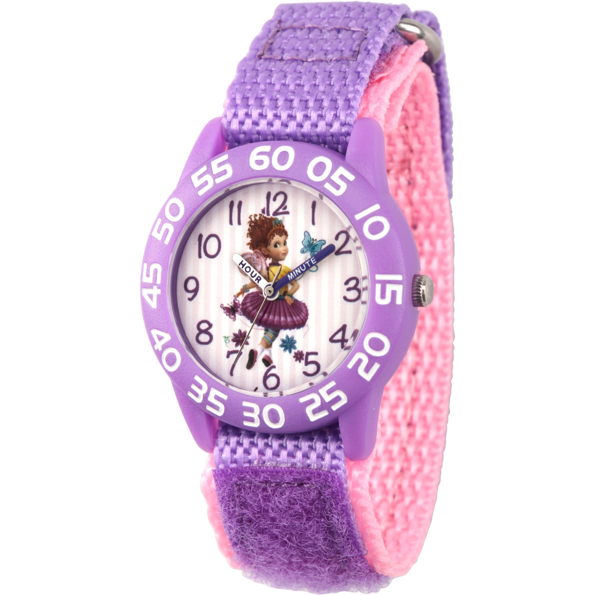Disney Fancy Nancy Girls' Purple Plastic Time Teacher Watch, Purple Hook and Loop Nylon Strap with Pink Backing