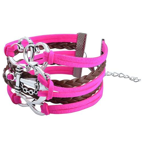 Zodaca Fashion Leather Cute Infinity Charm Bracelet Jewelry Silver lots Hot Pink/Brown Heart