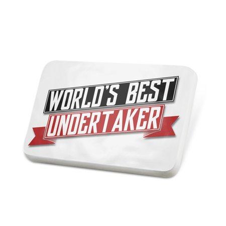 Porcelein Pin Worlds Best Undertaker Lapel Badge –